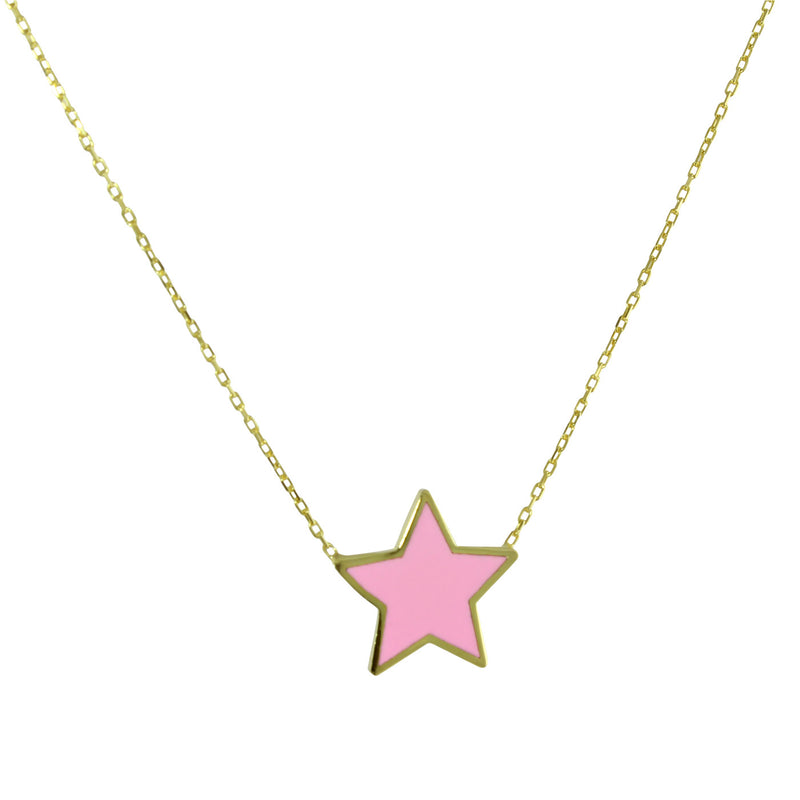 PINK ENAMEL STAR NECKLACE
