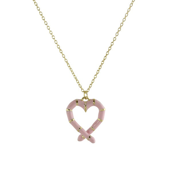 ENAMEL CROSSOVER HEART NECKLACE