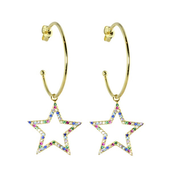 HANGING STAR HOOPS - adammarcjewels