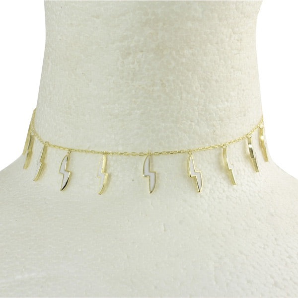 ENAMEL LIGHTENING BOLT CHOKER