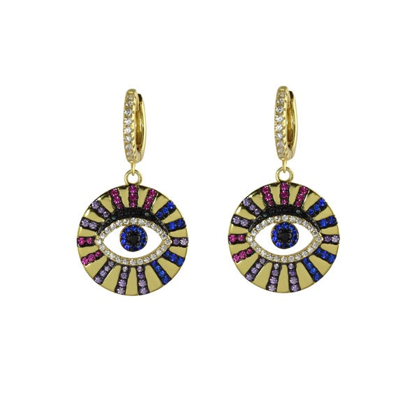 EVIL EYE DISC EARRINGS