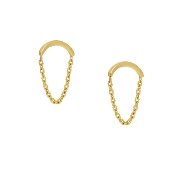 CURVED BAR & CHAIN EARRING 14k - adammarcjewels