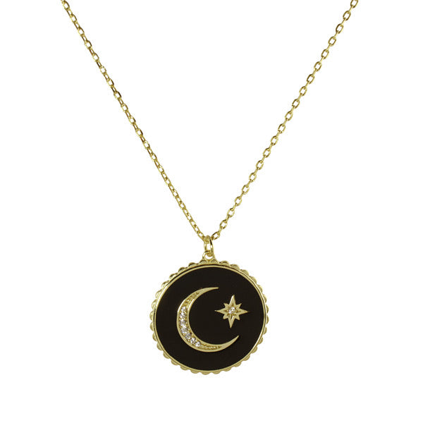 BLACK ENAMEL MOON STAR NECKLACE