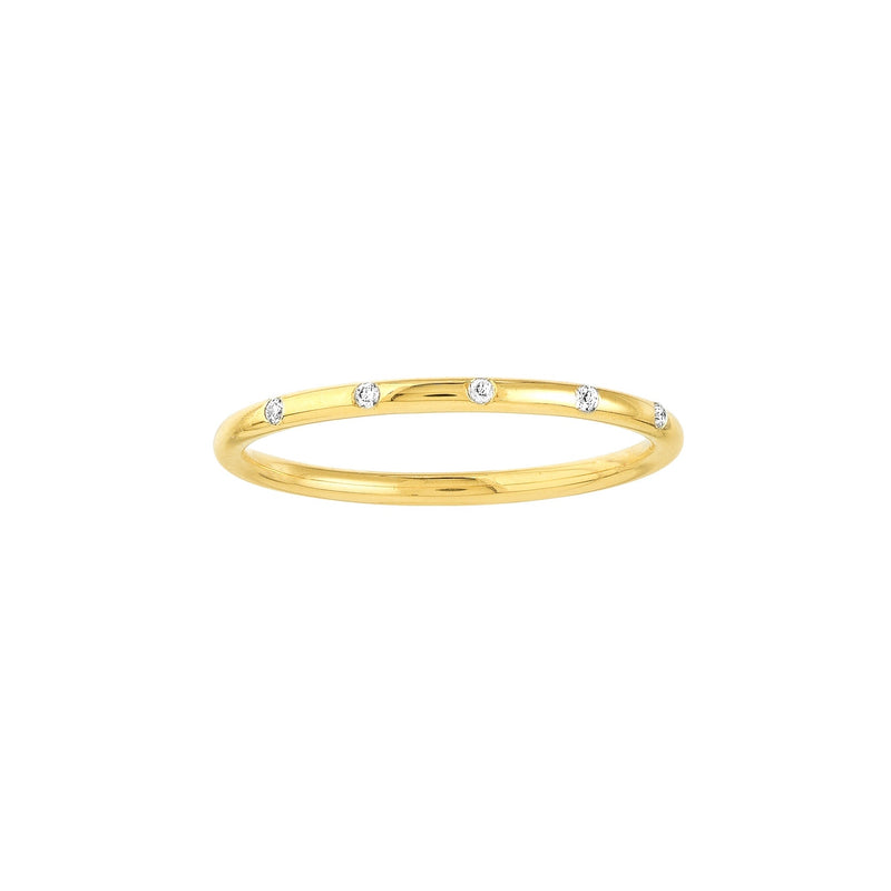 14K DIAMOND INLAY STACKABLE RING