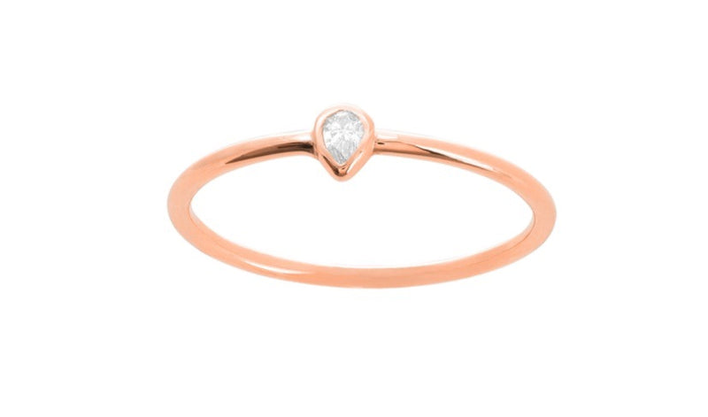 MINI PEAR BEZEL RING 14k