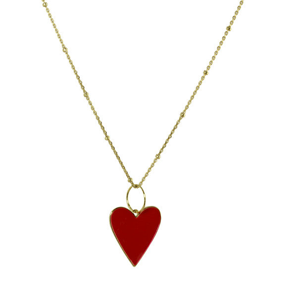 ENAMEL HEART ON CHAIN