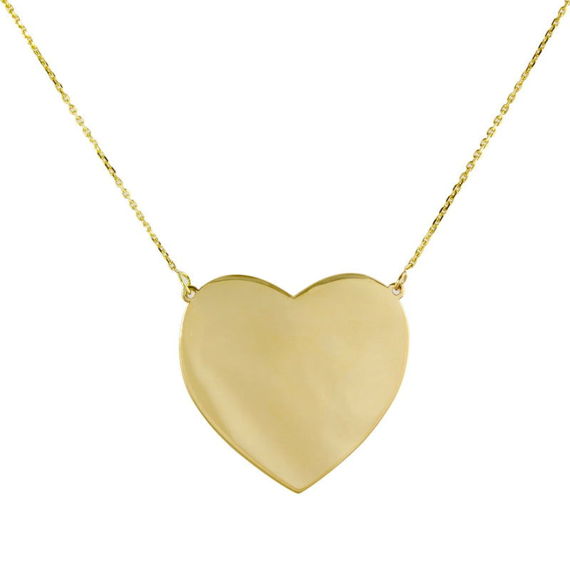 14k big gold heart necklace