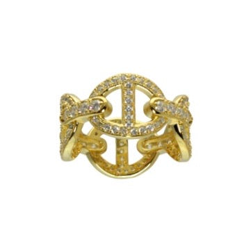 CZ HORSESHOE LINK RING