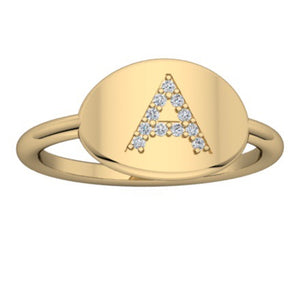 DIAMOND INITIAL SIGNET RING