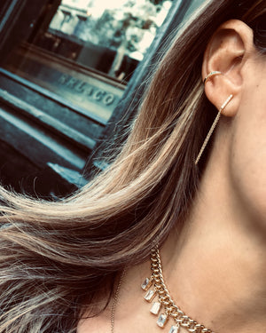 BAR & CHAIN  EARRINGS 14K - adammarcjewels