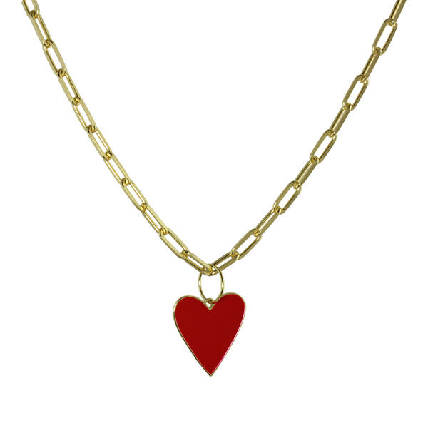 DOUBLE SIDED ENAMEL HEART LINK NECKLACE