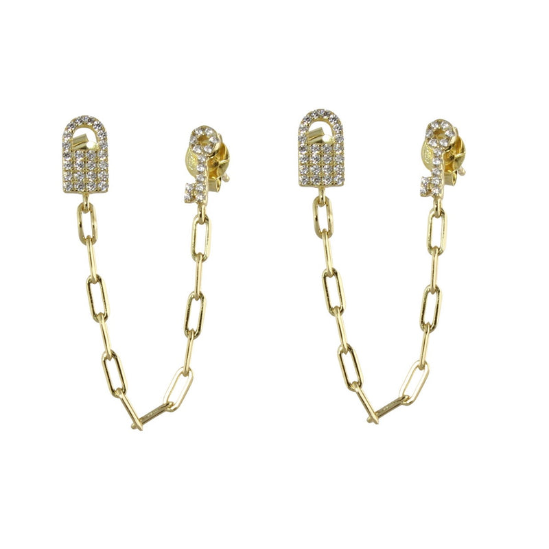 LOCK & KEY DOUBLE POST CHAIN EARRINGS