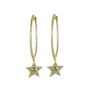 HANGING CZ STAR HOOPS - adammarcjewels