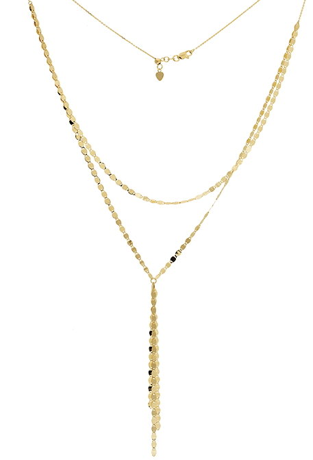 DOUBLE LAYER DISCS LARIAT 14K - adammarcjewels