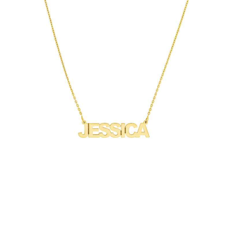 14K BLOCK LETTER NAMEPLATE NECKLACE