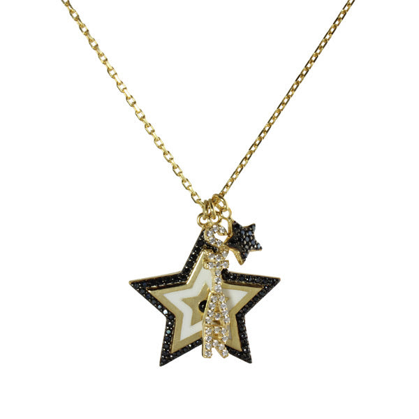 BLACK & WHITE STAR CHARMS NECKLACE