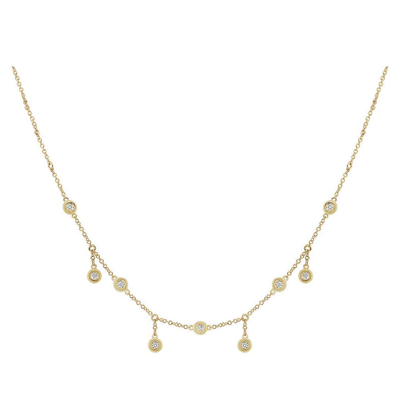 HANGING DIAMOND STATION CHOKER 14k - adammarcjewels