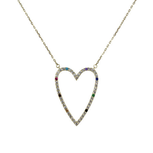 BIG RAINBOW CUTOUT HEART NECKLACE