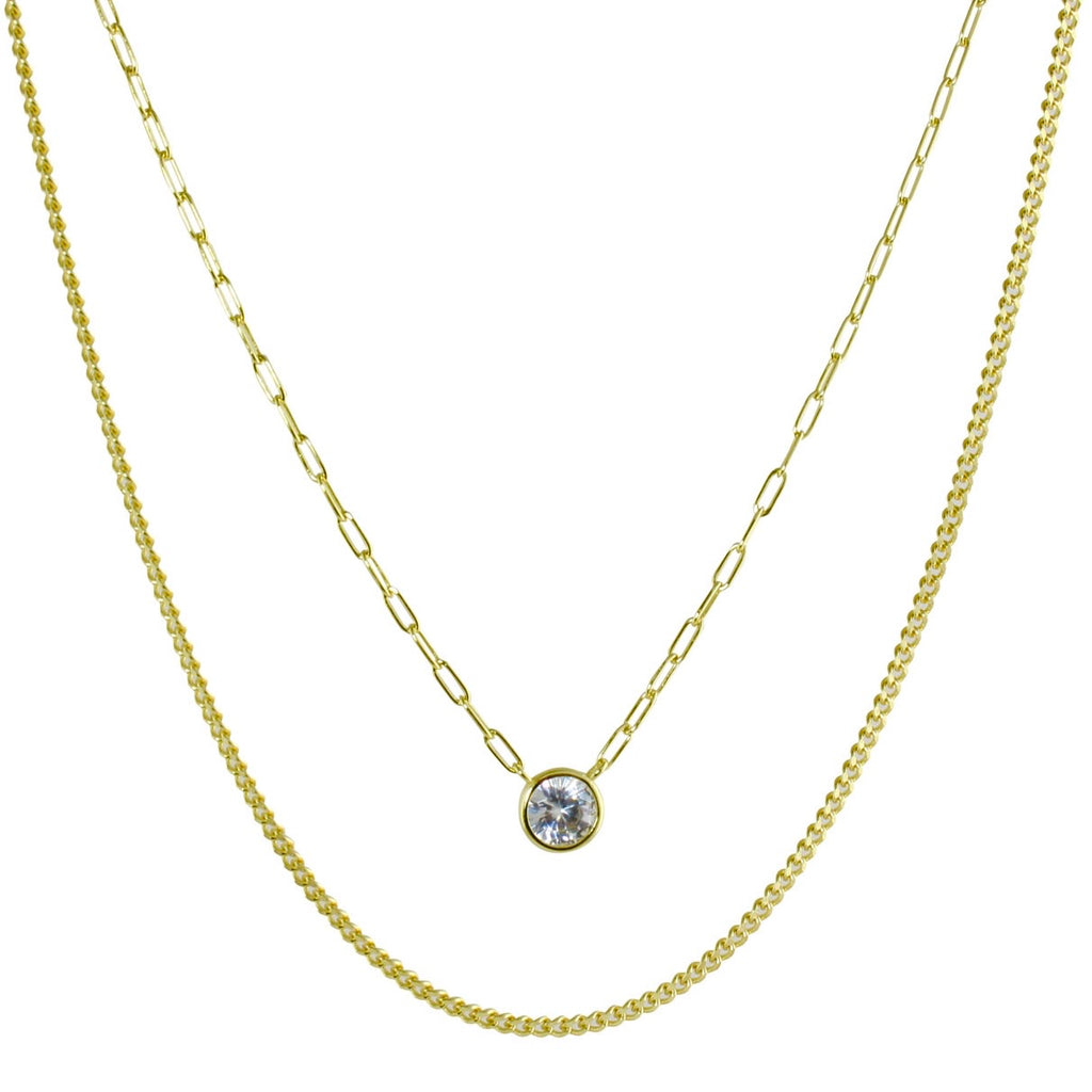 DOUBLE LAYER SOLITAIRE & LINK NECKLACE