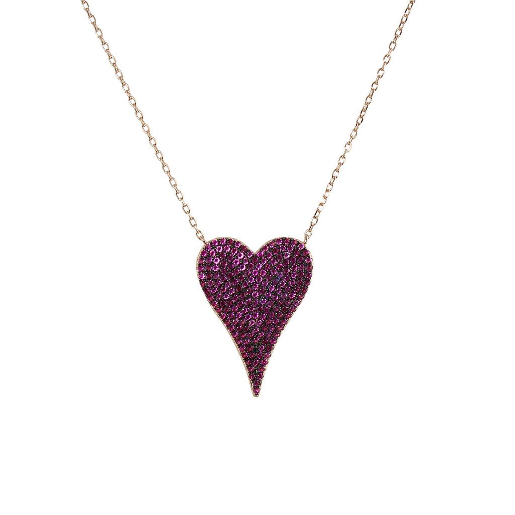 PINK PAVÈ ELONGATED HEART NECKLACE