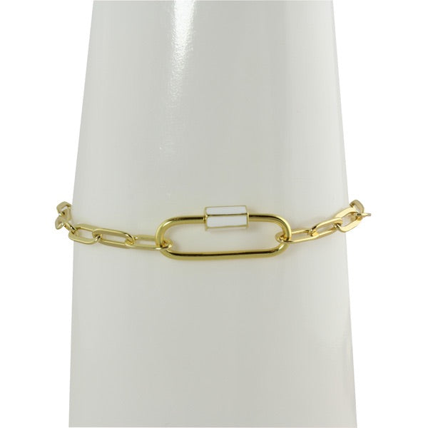 ENAMEL SCREW LOCK LINK BRACELET