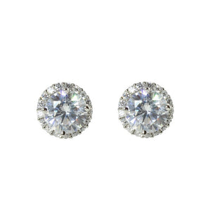 CZ HALO STUD EARRINGS
