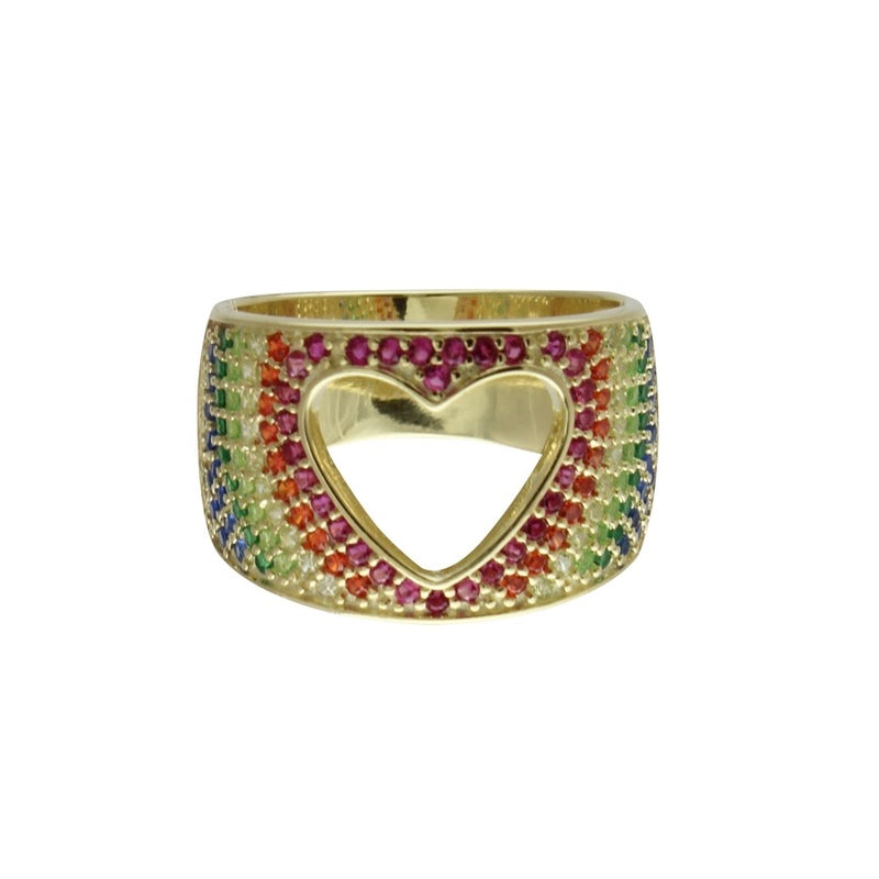 RAINBOW CUTOUT HEART RING