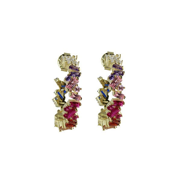 RAINBOW JAGGED BAGUETTE HOOPS