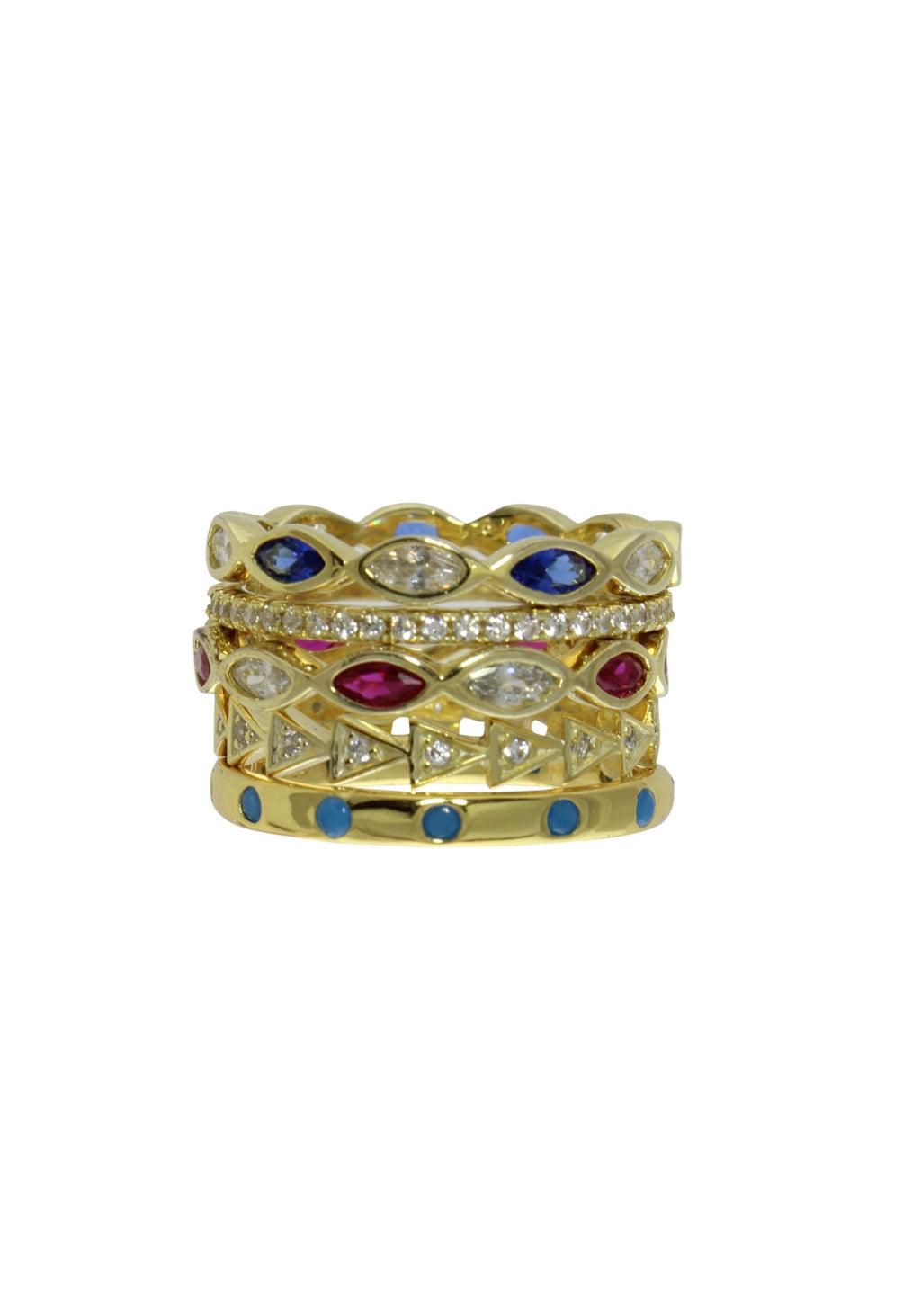 MIXED COLOR RING STACK
