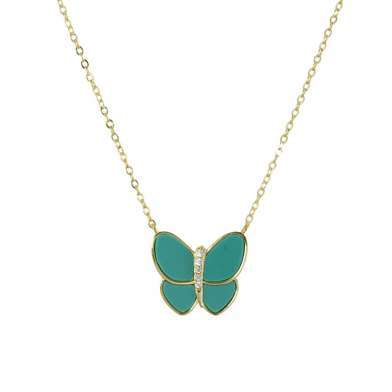 turquoise enamel butterfly necklace