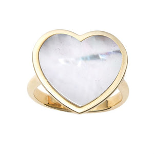 gold pearl heart ring