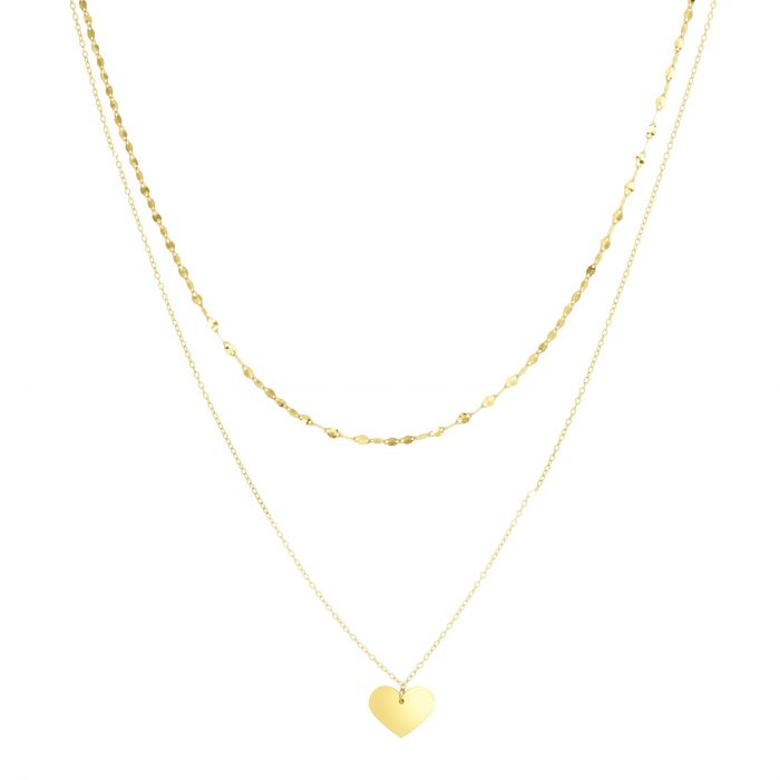 14K GOLD HEART DOUBLE LAYER NECKLACE