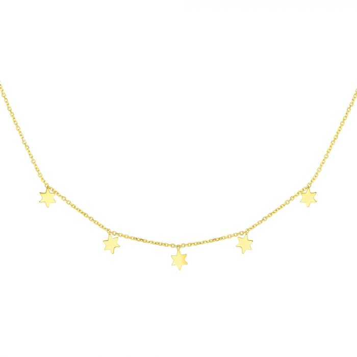 14k gold mini stars necklace