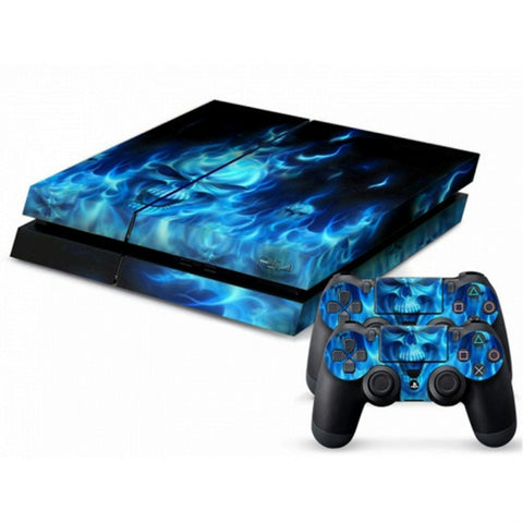 ModFreakz® Console/Controller Vinyl Skin Set - Flaming Blue Skull for PS4 Original - Mod Freakz