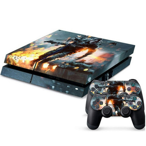 ModFreakz® Console/Controller Vinyl Skin Set - Fighter in Rain Fire for PS4 Original - Mod Freakz