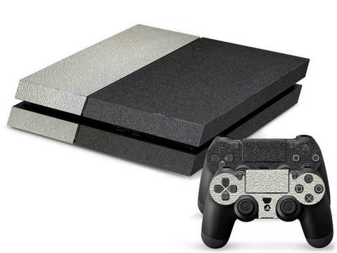 ModFreakz® Console/Controller Vinyl Skin Set - Black/Gray Leather for PS4 Original - Mod Freakz