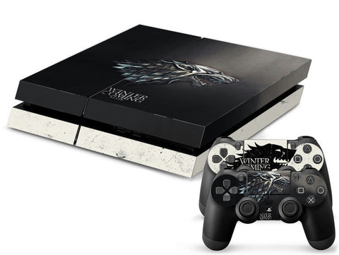 ModFreakz® Console/Controller Vinyl Skin Set - Black Wolf GOT Winterfell for PS4 Original - Mod Freakz