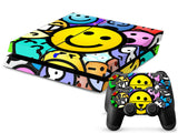 ModFreakz® Console/Controller Vinyl Skin Set - Colored Happy Smiley for PS4 Original - Mod Freakz