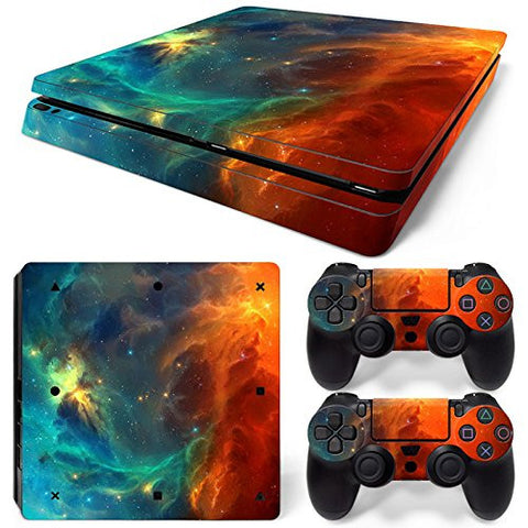 ModFreakz® Console/Controller Vinyl Skin Set - Red Blue Light Storm for PS4 Slim