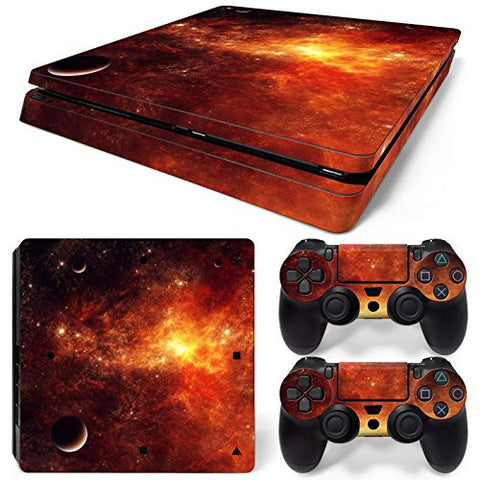ModFreakz® Console/Controller Vinyl Skin Set - Red Space Planets for PS4 Slim