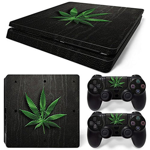 ModFreakz® Console/Controller Vinyl Skin Set - Weed Leaf Leather for PS4 Slim
