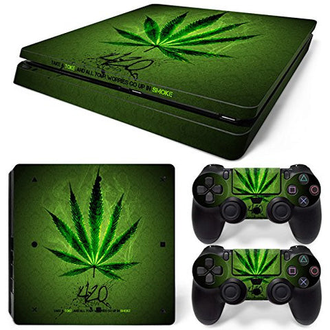 ModFreakz® Console/Controller Vinyl Skin Set - Weed Leaf Light for PS4 Slim