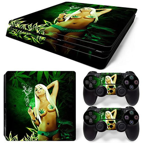 ModFreakz® Console/Controller Vinyl Skin Set - Smoking Weed Girl for PS4 Slim