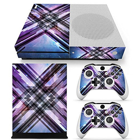 ModFreakz® Console/Controller Vinyl Skin Set - Purple Blue Plaid for Xbox One Slim