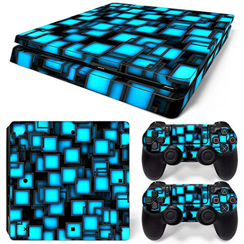 ModFreakz™ Console/Controller Vinyl Skin Set - Blue Glow Cubes for PS4 Slim