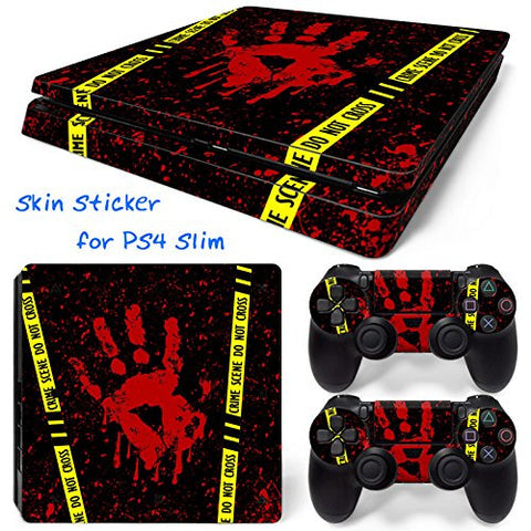 ModFreakz® Console/Controller Vinyl Skin Set - Black Blood Print for PS4 Slim - Mod Freakz