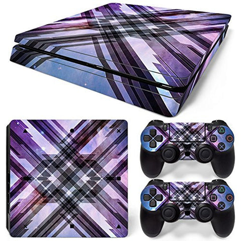 ModFreakz® Console/Controller Vinyl Skin Set - Purple Plaid for PS4 Slim