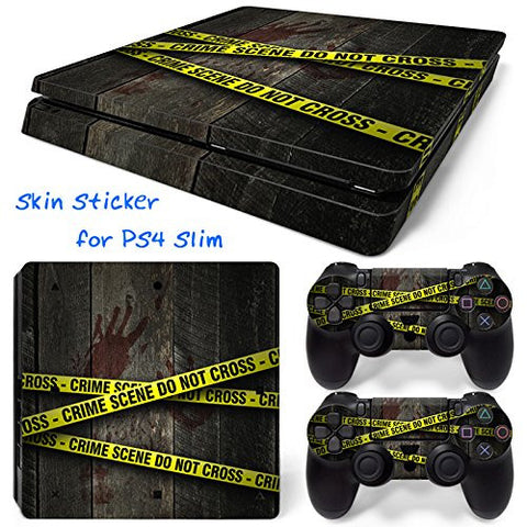 ModFreakz® Console/Controller Vinyl Skin Set - Crime Scene Tape for PS4 Slim - Mod Freakz
