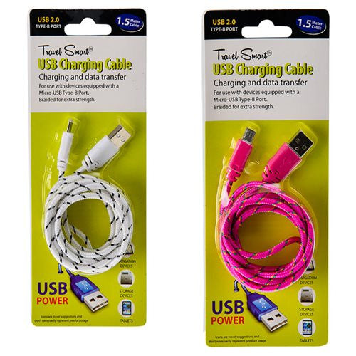 Travel Smart Braided USB Cable Charger for Samsung