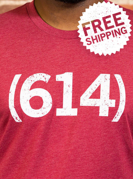 (614) Vintage Red Unisex T-Shirt